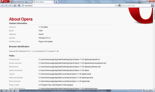 Интерфейс Opera 11